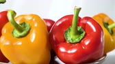 variação : Colored red yellow Bell Pepper Placed on plate. Healthy eating and lifestyle Vídeos