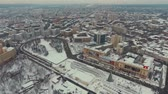 свобода : Kharkiv, Ukraine - Dec 13, 2016: Aerial of Maidan Svobody, Freedom Square covered with snow. Urban winter landscape