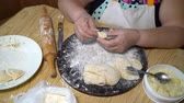 stuffing : senior woman making dumplings with mashed potatoes stuffing Stock Footage