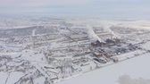 fumegante : Aerial view of mining plant in winter Stock Footage