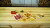canape : tasty meals variety appearing and disappearing on big wooden table