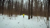 tracking shot of man running in forest on snow covered path on winter day