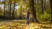 бросать : sunshine on cute little girl throwing yellow leaves up in the air in autumn park Стоковые видеозаписи