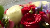 frezja : Beautiful bouquet roses, iris and alstroemeria quickly rotating. Wideo