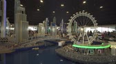 wesołe miasteczko : Dubai, UAE - April 01, 2018: Exhibition of mock-ups Dubai Marina made of Lego pieces in Miniland Legoland at Dubai Parks and Resorts stock footage video Wideo