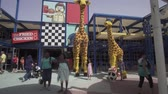 main street : Dubai, UAE - April 01, 2018: Amusement and entertainment in the territory Imagination of Legoland at Dubai Parks and Resorts stock footage video