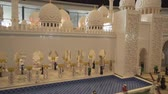 sharjah : Dubai, UAE - April 01, 2018: Exhibition of mock-ups Sheikh Zayed Grand Mosque made of Lego pieces in Miniland Legoland at Dubai Parks and Resorts stock footage video