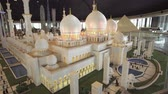 main entrance : Dubai, UAE - April 01, 2018: Exhibition of mock-ups Sheikh Zayed Grand Mosque made of Lego pieces in Miniland Legoland at Dubai Parks and Resorts stock footage video