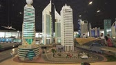main entrance : Dubai, UAE - April 01, 2018: Exhibition of mock-ups skyscrapers of Dubai made of Lego pieces in Miniland Legoland at Dubai Parks and Resorts stock footage video