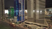 main entrance : Dubai, UAE - April 01, 2018: Exhibition of mock-ups Dubai skyscrapers made of Lego pieces in Miniland Legoland at Dubai Parks and Resorts stock footage video