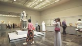 saadiyat : Abu Dhabi, UAE - April 04, 2018: People looking at exhibits in the new Louvre Museum in Abu Dhabi stock footage video