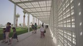 exhibits : Abu Dhabi, UAE - April 04, 2018: Territory of the new museum Louvre in Abu Dhabi stock footage video