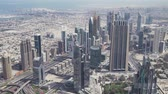 nejvyšší : Dubai, UAE - April 09, 2018: Modern skyscrapers on Sheikh Zayed Road, in the heart of the financial district of Dubai stock footage video