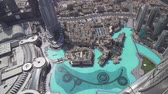 burj khalifa : Dubai, UAE - April 09, 2018: Modern architecture Downtown Dubai and Burj Khalifa Lake at the foot of the tallest building in the world stock footage video