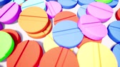 elszórt : Colorful round tablets pile 3d animation