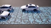 numérico : Cars moving on road with binary code