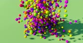 örvény : 3D animation of a pile of abstract colorful spheres and balls, rolling and falling.