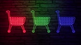 クイック : Colorful neon color shop trolley on light background. Shop store icon. Linear graphic. Thin line illustration. Flat design. Orange abstract background. Graphic element. Trolley icon. 動画素材