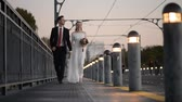 honey moon : Porto, Portugal the bride and groom Stock Footage