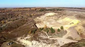 dredging : Flying forward over sand quarry with excavators. Aerial view. Stock Footage