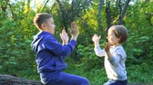 parente : Brother and sister sitting on tree trunk and clapping hands playing in the forest.