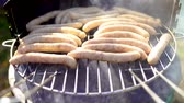 salsicha : Grilled sausage on the picnic flaming grill outdoor