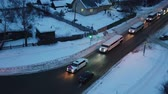limousine : aerial photography winter evening wedding convoy of limousines