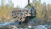 wheeled : work skidder logging in winter Stock Footage