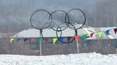 tirol : the Olympic rings are lit Stock Footage