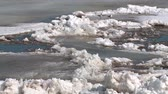 ice block : ice floes float on the river in the spring during the ice drift Stock Footage