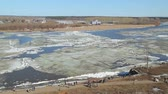 eisscholle : ice floes float on the river in the spring during the ice drift Stock Footage