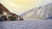 hostel : Scenic alpine village on a fjord or lake in winter Stock Footage