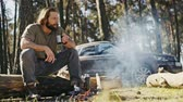 acımasız : Young beautiful mature man sitting at the fire in the summer pine forest and drinking tea. The car is standing next to him. Stok Video