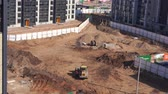 habitação : General view of the construction site of a residential area in the city - timelapse