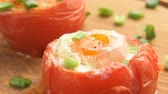 spring onion : Stuffed baked tomatoes with eggs and green onion