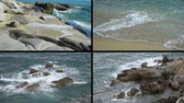 4K collage: Foaming waves breaking on the sandy beach and rocks