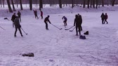 ジュニア : MINSK, BELARUS - JAN 23, 2018: Group of young people playing ice hockey on a frozen pond in a city park