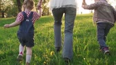 matky : Mother and children holding hands and running together on grass at sunset