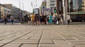 calçada : Group of people walking along crosswalk through urban street