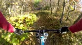 j��zda na kole : Downhill bike cycling. Riding a bicycle through autumn forest