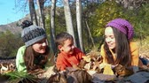 brother : Two girls and a little handsome boy lying on fall leaves in park, dolly shot Stock Footage