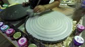 lavash : Pancake preparation, food street. Stock Footage