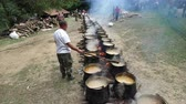 celta : Cooking delicious food mouth-watering dishes in a large cauldron on the fire