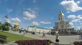 кресты : Unidentified people are on Cathedral Square in Holy Trinity Seraphim-Diveevo monastery in village of Diveevo, Russia