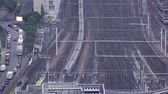 gare : Aerial view over the railway, Train arrival at Paris Train Station, Gare Vaugirard