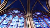 b roll : Virtrage windows of interior of gothic church Notre Dame from Paris Stock Footage