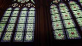 Virtrage windows of interior of gothic church Notre Dame from Paris Wideo