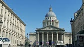 világi : National Pantheon building, front view with street traffic and people, cinematic SLOW MOTION Stock mozgókép