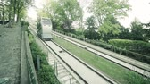 funicular : Funicular cable car at Sacre-Coeur Basilica, Montmartre in Paris, SLOW MOTION
