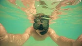 spor : Selfie of man swimming on water surface. camera dome shot Stok Video